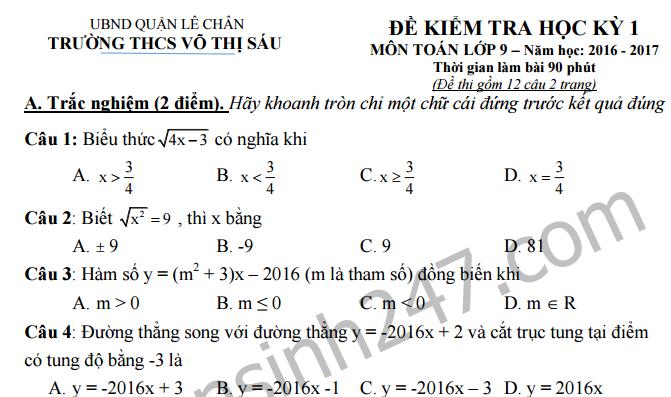 Đề thi học kì 1 môn Toán 9 - THCS Võ Thị Sáu 2016