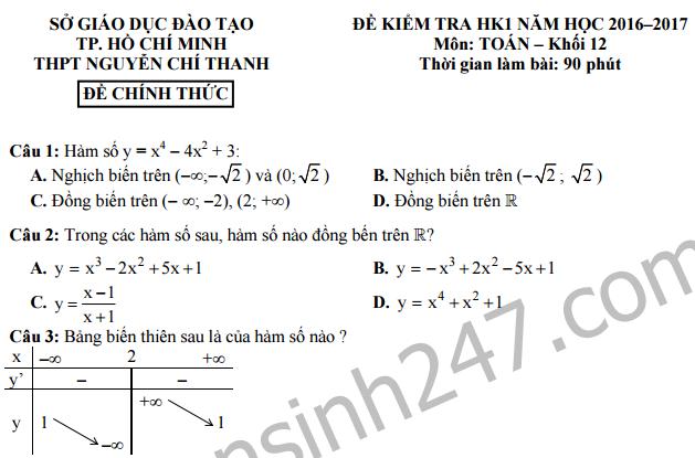 Đề thi học kì 1 lớp 12 môn Toán - THPT Nguyễn Chí Thanh 2016 -2017