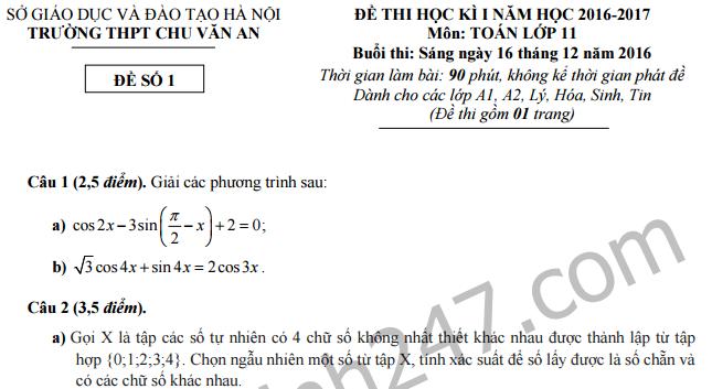 Đề thi học kì 1 lớp 11 môn Toán ( Ban A) - THPT Chu Văn An - Hà Nội 2016 -2017