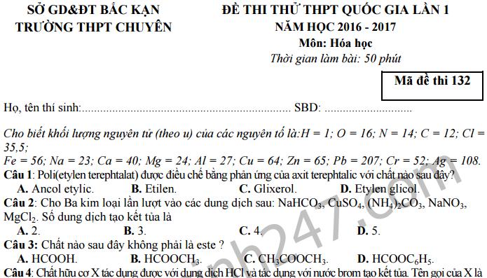 Đề thi thử THPT Quốc gia 2017 môn Hóa - THPT Chuyên Bắc Kạn