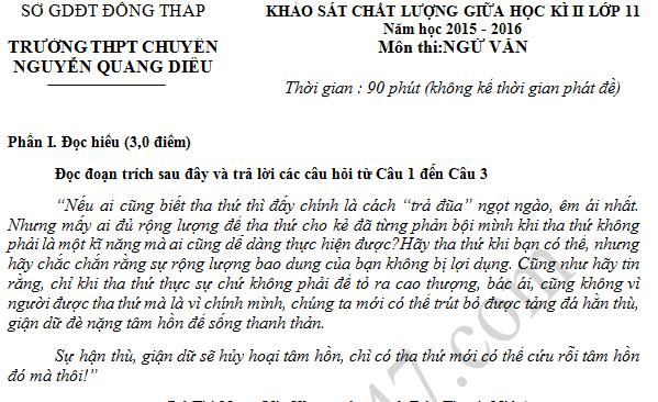 Đề thi giữa học kì 2 lớp 11 môn Văn - THPT Chuyên Nguyễn Quang Diêu 2016