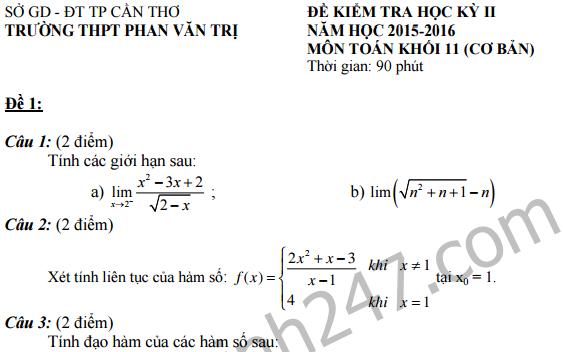 Đề thi giữa học kì 2 lớp 11 môn Toán  - THPT Phan Văn Trị 2016