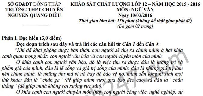 Đề thi giữa học kì 2 lớp 12 môn Văn - THPT Chuyên Nguyễn Quang Diêu 2016