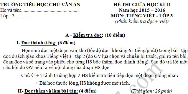 Đề thi giữa kì 2 lớp 3 môn Tiếng Việt - Tiểu học Chu Văn An 2016