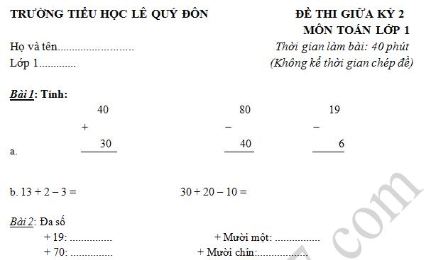 Đề thi giữa kì 2 lớp 1 môn Toán - Tiểu học Lê Quý Đôn 2016