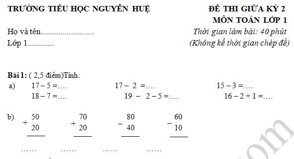 Đề thi giữa kì 2 lớp 1 môn Toán - Tiểu học Nguyễn Huệ 2016