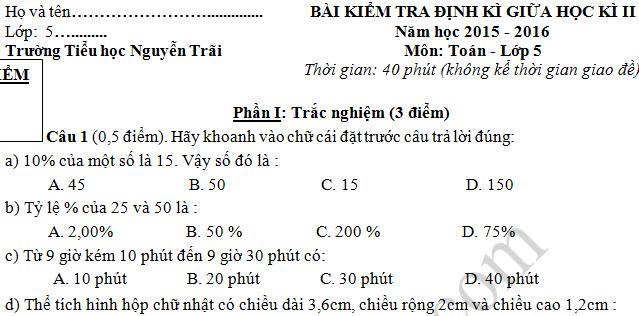 Đề thi giữa kì 2 lớp 5 môn Toán - Tiểu học Nguyễn Trãi 2016