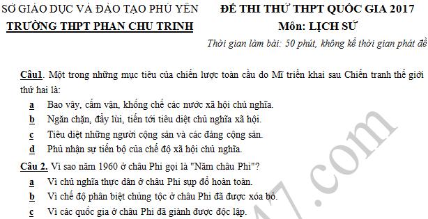 Đề thi thử THPT Quốc gia 2017 môn Sử - THPT Phan Chu Trinh