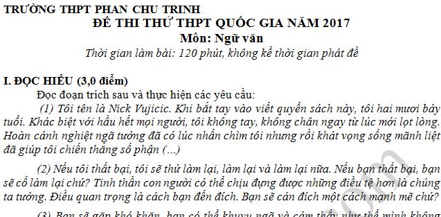 Đề thi thử THPT Quốc gia 2017 môn Văn  - THPT Phan Chu Trinh