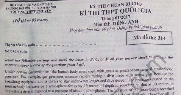 Đề thi thử THPT Quốc gia 2017 môn Anh - THPT Chuyên Sư Phạm Hà Nội