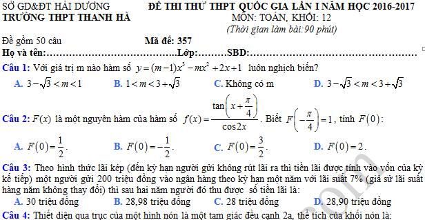 Đề thi thử THPT Quốc gia 2017 môn Toán - THPT Thanh Hà