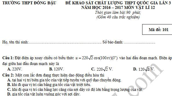 Đề thi thử THPT Quốc gia 2017 môn Lý - THPT Đồng Đậu lần 3