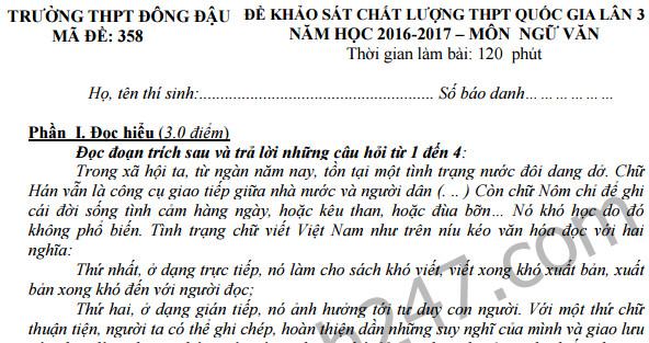 Đề thi thử THPT Quốc gia 2017 môn Văn - THPT Đồng Đậu lần 3