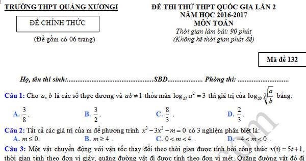 Đề thi thử THPT Quốc gia 2017 môn Toán - THPT Quảng Xương 1 lần 2