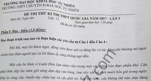 Đề thi thử THPT Quốc gia môn  Văn – Chuyên KHTN Hà Nội lần 3