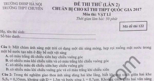 Đề thi thử THPT Quốc gia môn Lý - Chuyên Sư Phạm HN 2017 lần 2
