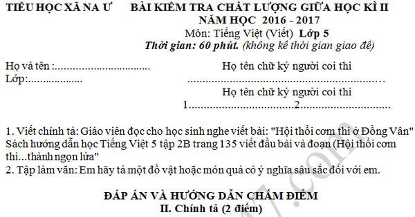 Đề thi giữa học kì 2 lớp 5 môn Tiếng Việt - Tiểu học xã Na Ư 2017