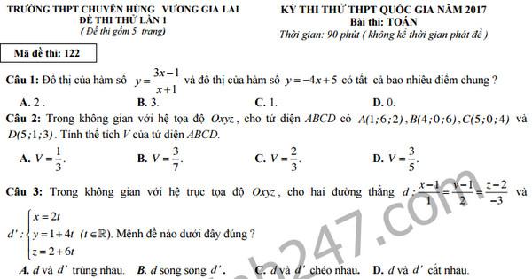 Đề thi thử THPT Quốc gia 2017 môn Toán - Chuyên Hùng Vương, Gia Lai
