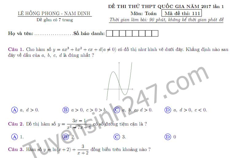 Đề thi thử THPTQG môn Toán THPT chuyên Lê Hồng Phong 2017 lần 1