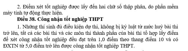 Diem liet THPT quoc gia 2017 la 1 diem - khong co thay doi