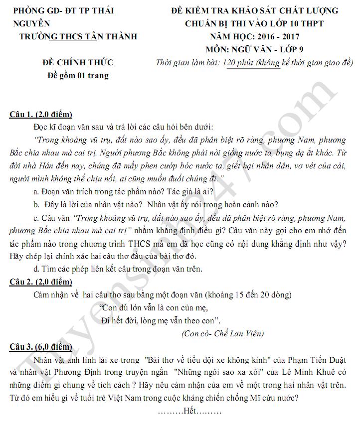 Đề thi thử vào lớp 10 môn Văn - THCS Tân Thành 2017
