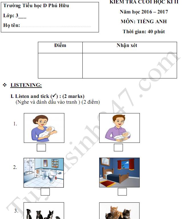 Đề thi học kì 2 lớp 3 môn Tiếng Anh 2017 - TH D Phú Hữu