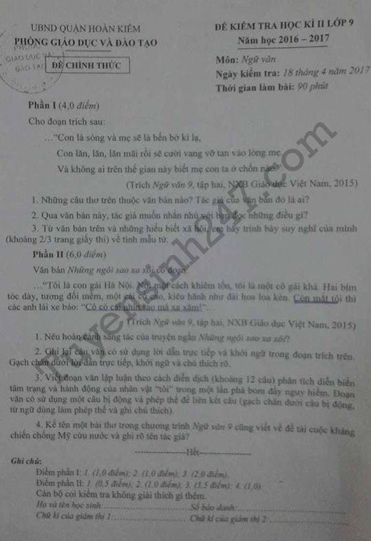 Đề thi học kì 2 lớp 9 môn Văn – Quận Hoàn Kiếm 2017