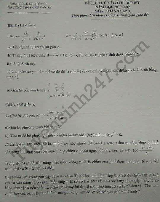 Đề thi thử vào lớp 10 môn Toán 2017 – THCS Chu Văn An