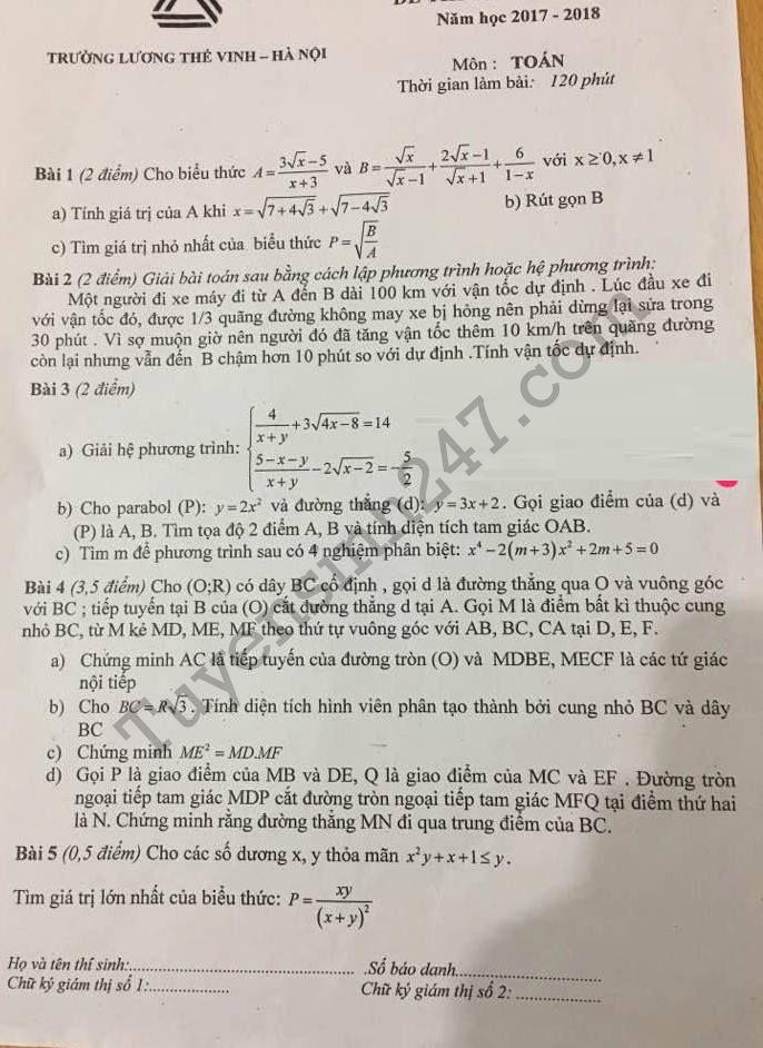 Đề thi thử vào lớp 10 môn Toán THPT Lương Thế Vinh 2017
