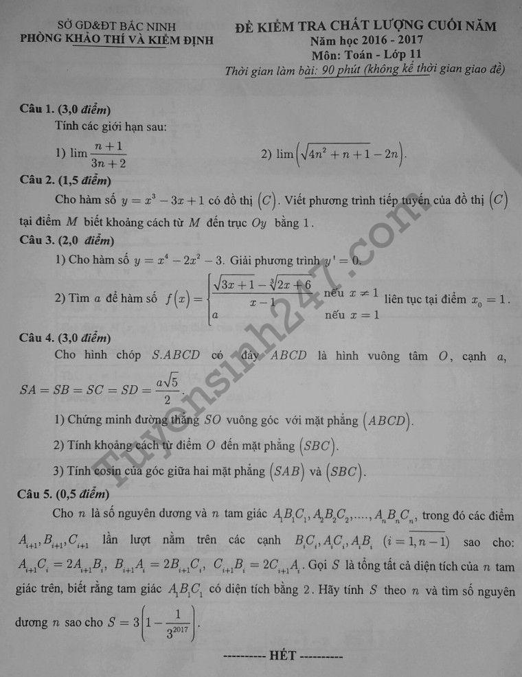 Đề thi học kì 2 lớp 11 môn Toán - Sở GD Bắc Ninh 2017 có đáp án