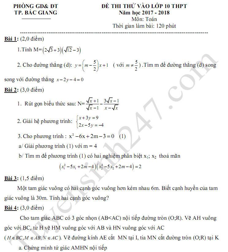 Đề thi thử vào lớp 10 môn Toán 2017 - Bắc Giang