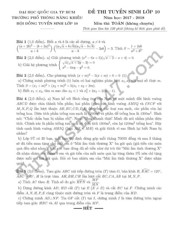 Đáp án đề thi vào lớp 10 môn Toán - Phổ thông năng khiếu 2017