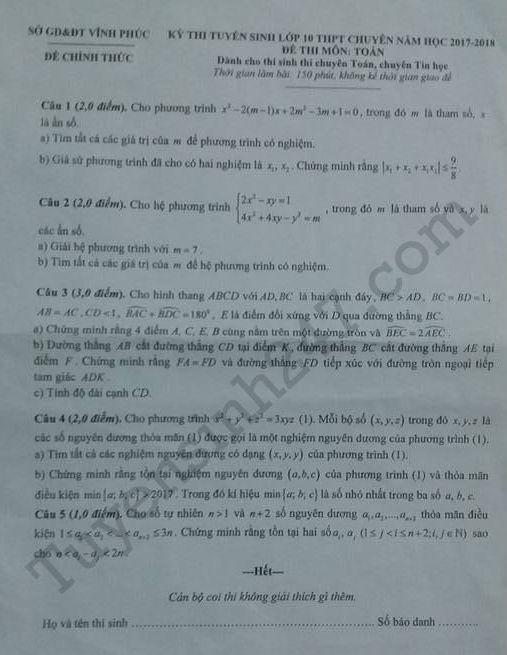 Đáp án đề thi vào lớp 10 môn Toán chuyên- Vĩnh Phúc 2017