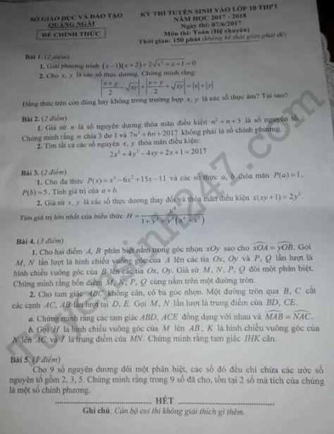 Đáp án đề thi vào lớp 10 môn Toán chuyên- Quãng Ngãi 2017