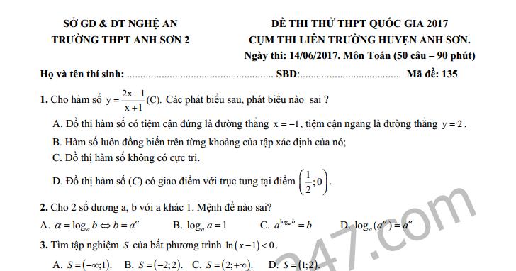 Đề thi thử THPT Quốc gia môn Toán THPT Anh Sơn năm 2017