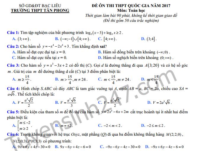 Đề thi thử THPT Quốc gia môn Toán 2017 - THPT Tân Phong