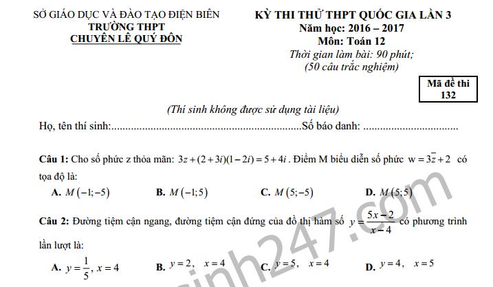 Đề thi thử THPT Quốc gia môn Toán THPT chuyên Lê Quý Đôn năm 2017
