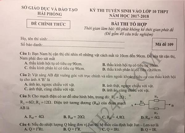 Đề thi tổng hợp thi vào lớp 10 Hải Phòng 2017