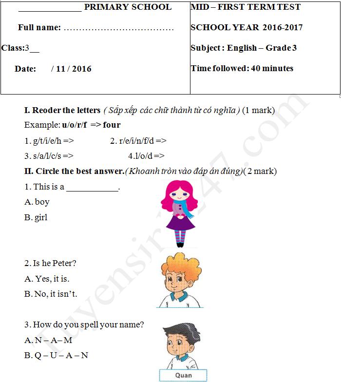 Đề thi giữa kì 1 lớp 3 môn tiếng Anh năm 2017