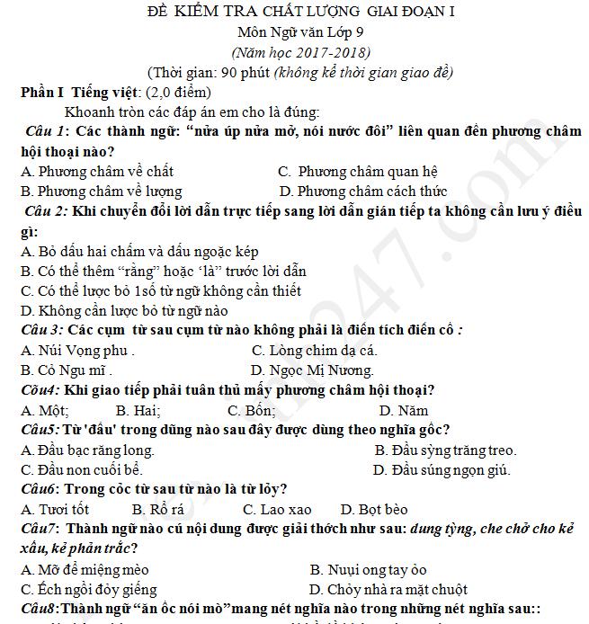 Đề thi giữa kì 1 lớp 9 môn Văn 2017 - THCS Nguyễn Khuyến