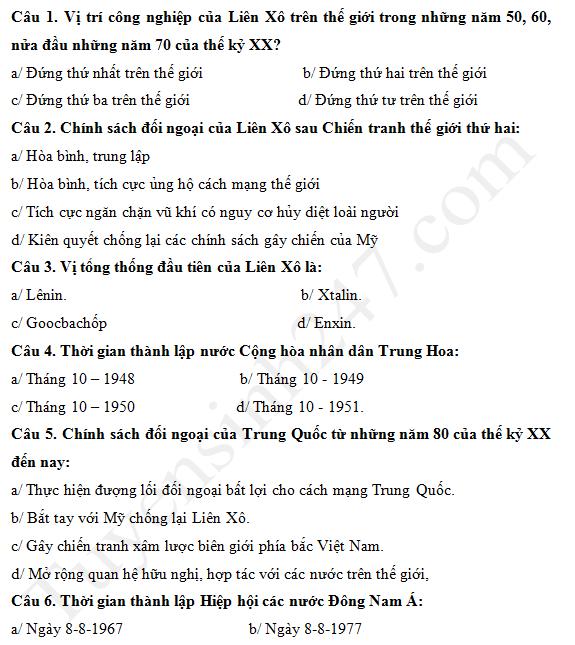 Đề kiểm tra giữa kì 1 lớp 12 môn Sử 2017 - THPT Nguyễn Du
