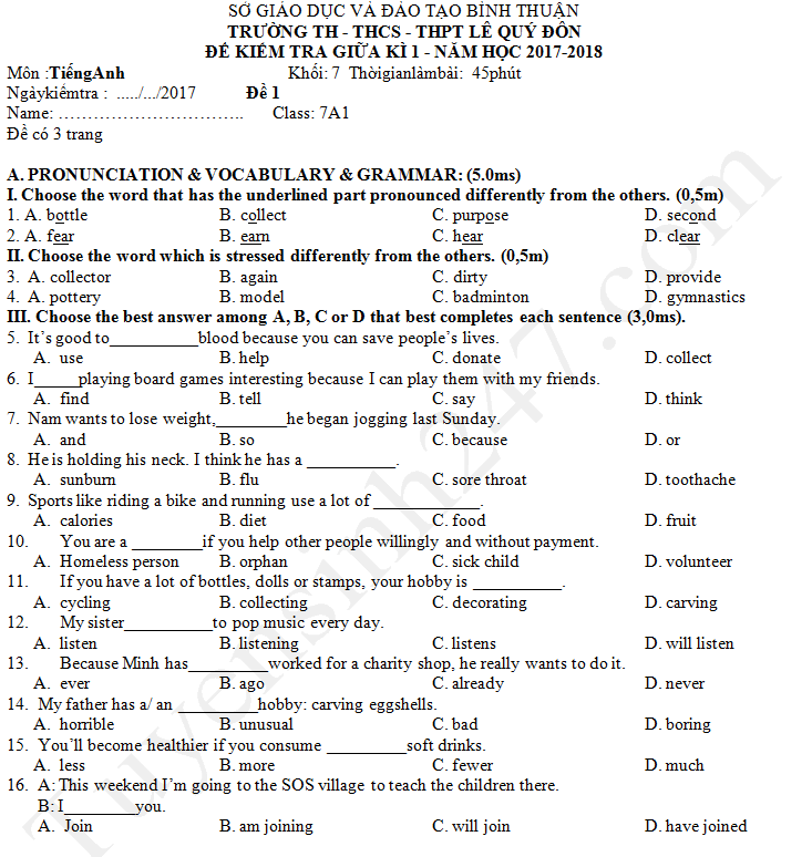 Đề thi giữa kì 1 lớp 7 môn Anh 2017 - THCS Lê Quý Đôn