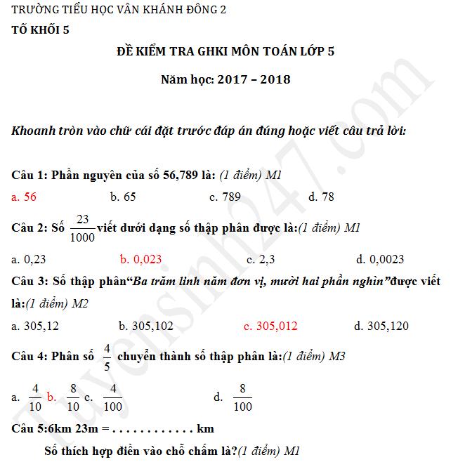 Đề thi giữa học kì 1 lớp 5 môn Toán 2017 - TH Vân Khánh Đông 2