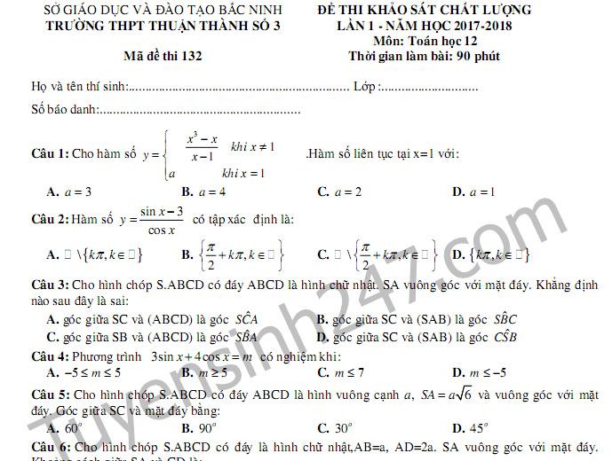 Đề thi giữa kì 1 lớp 12 môn Toán 2017 - THPT Thuận Thành 3