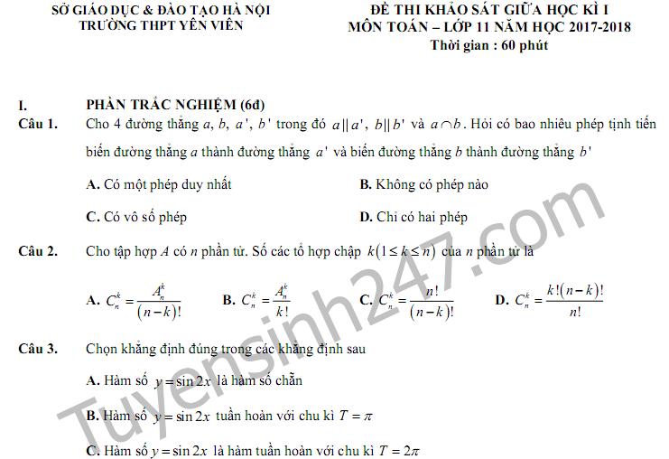 Đề thi giữa kì 1 lớp 11 môn Toán 2017 - THPT Yên Viên