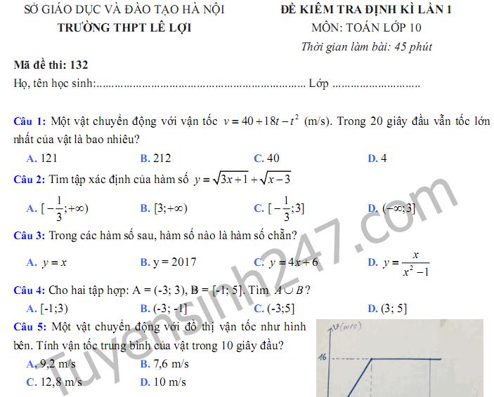 Đề thi giữa kì 1 lớp 10 môn Toán 2017 - THPT Lê Lợi