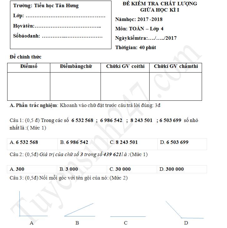 Đề thi giữa kì 1 lớp 4 môn Toán 2017 - TH Tân Hưng