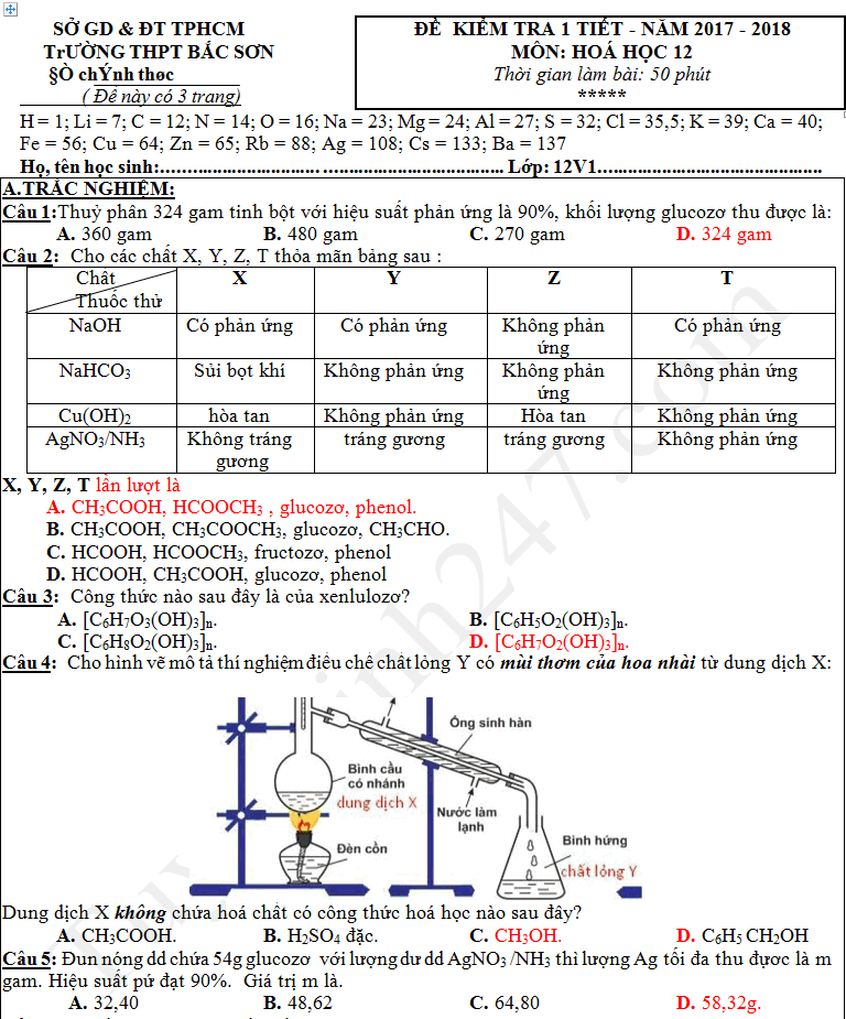 Đề thi giữa kì 1 lớp 12 môn Hóa 2017 - THPT Bắc Sơn