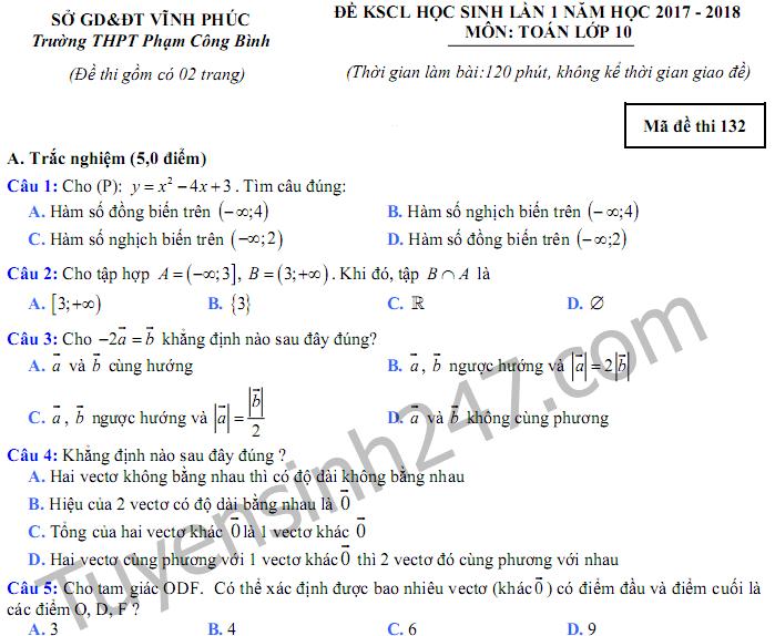 Đề thi giữa kì 1 lớp 10 môn Toán 2018 - THPT Phạm Công Bình