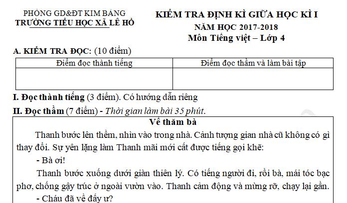 Đề thi giữa kì 1 năm 2017 môn Tiếng Việt lớp 4 - Tiểu học Lê Hồ